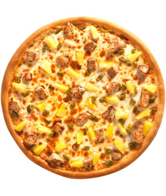 Пицца с куриной грудкой и ананасом
